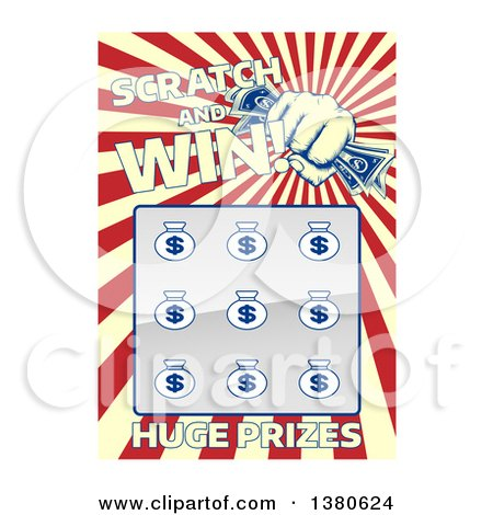 Clipart of a Lottery Instant Scratch and Win Scratchcard with a Fist Holding Cash and Rays - Royalty Free Vector Illustration by AtStockIllustration
