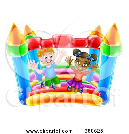Clipart of a Cartoon Happy White Boy and Black Girl Jumping on a Bouncy House Castle - Royalty Free Vector Illustration by AtStockIllustration