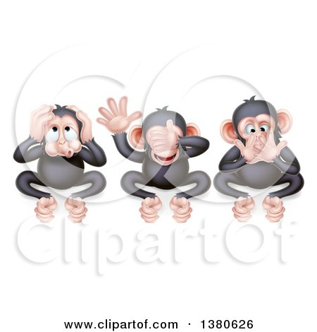 Clipart of Black and Tan Three Wise Monkeys Covering Their Ears, Eyes and Mouth, Hear No Evil, See No Evil, Speak No Evil - Royalty Free Vector Illustration by AtStockIllustration
