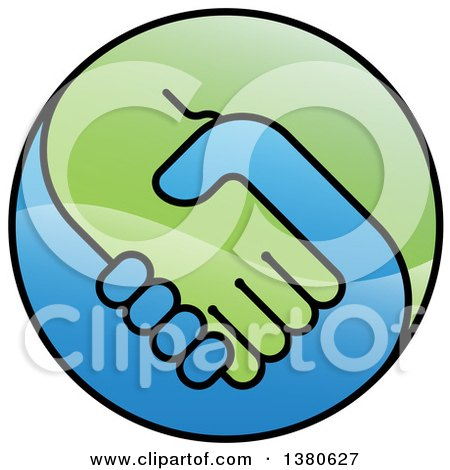 Clipart of a Blue and Green Handshake Globe - Royalty Free Vector Illustration by AtStockIllustration