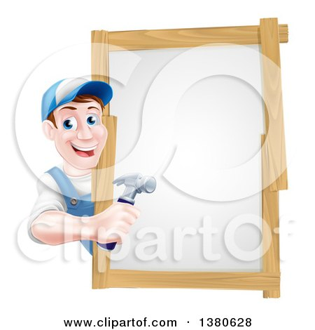 Happy Middle Aged Brunette Caucasian Worker Man Holding a Hammer Around a Sign Posters, Art Prints