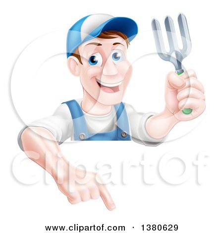 Clipart of a Middle Aged Brunette White Male Gardener in Blue, Holding a Garden Fork and Pointing down over a Sign - Royalty Free Vector Illustration by AtStockIllustration