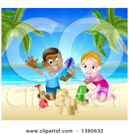 Clipart of a Happy White Girl and Black Boy Playing and Making Sand Castles on a Tropical Beach - Royalty Free Vector Illustration by AtStockIllustration