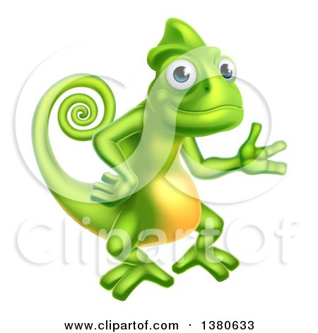 Clipart of a Happy Green Chameleon Lizard Presenting - Royalty Free Vector Illustration by AtStockIllustration