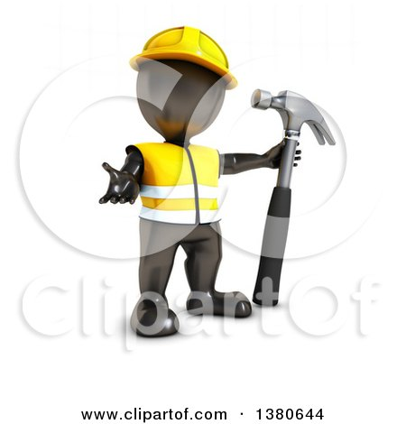 Clipart of a 3d Black Man Worker Presenting with a Hammer, on a White Background - Royalty Free Illustration by KJ Pargeter