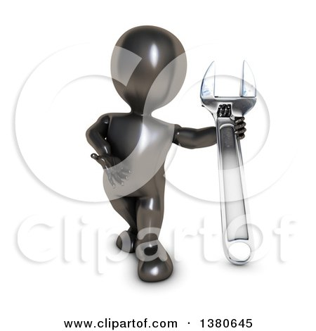 Clipart of a 3d Black Man Presenting a Giant Adjustable Wrench, on a White Background - Royalty Free Illustration by KJ Pargeter