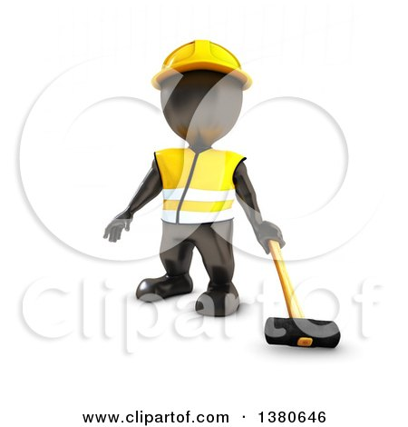 Clipart of a 3d Black Man Construction Worker Holding a Sledgehammer, on a White Background - Royalty Free Illustration by KJ Pargeter