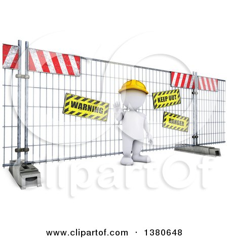 Clipart of a 3d White Man at a Construction Barrier, on a White Background - Royalty Free Illustration by KJ Pargeter