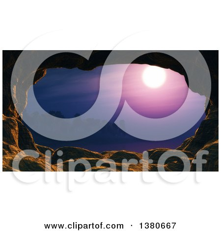 Clipart of a Cave Framing a Tropical Ocean Sunset Landscape - Royalty Free Illustration by KJ Pargeter