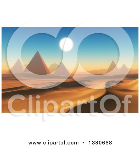 Clipart of a 3d Desert Landscape with Ancient Pyramids - Royalty Free Illustration by KJ Pargeter