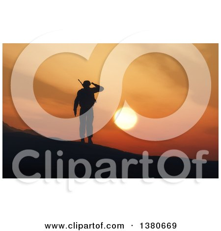 Clipart of a 3d Silhouetted Soldier Saluting Against a Sunset - Royalty Free Illustration by KJ Pargeter