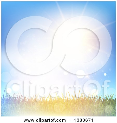 Clipart of a Background of Grass Under a Sunny Sky with Flares - Royalty Free Vector Illustration by KJ Pargeter
