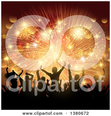 Clipart of a Background of Silhouetted Dancers over a Golden Burst of Lights - Royalty Free Vector Illustration by KJ Pargeter