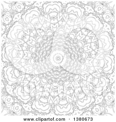 Clipart of a Black and White Adult Coloring Page Design - Royalty Free Vector Illustration by KJ Pargeter
