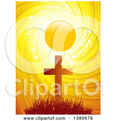 Clipart of a Silhouetted Easter Cross Against a Sunset with Sparkles, Stars and a Swirl - Royalty Free Vector Illustration by elaineitalia