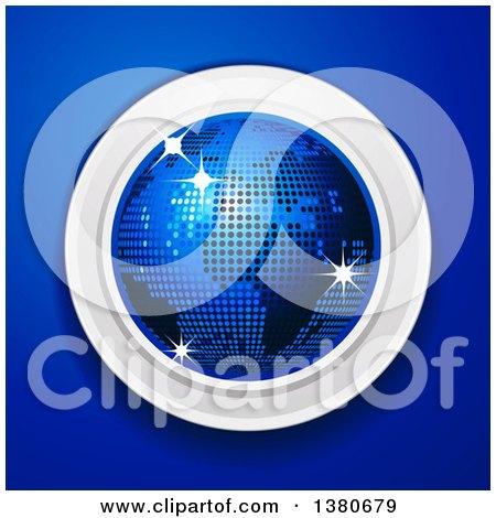 Clipart of a 3d Disco Ball Earth Globe over a Blue Background - Royalty Free Vector Illustration by elaineitalia
