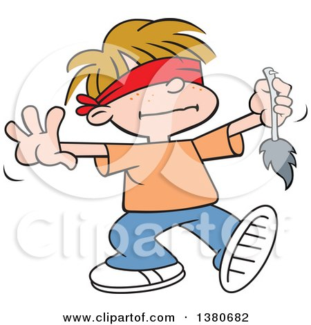 Cartoon Clipart of a Blindfolded Blond White Boy Playing Pin the Tale on the Donkey at a Party - Royalty Free Vector Illustration by Johnny Sajem