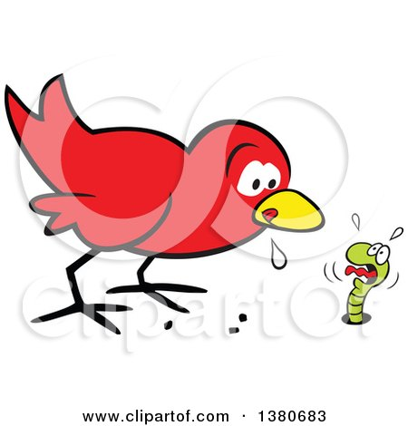 Cartoon Clipart of a Hungry Early Red Bird Drooling and Eyeing a Scared Worm - Royalty Free Vector Illustration by Johnny Sajem
