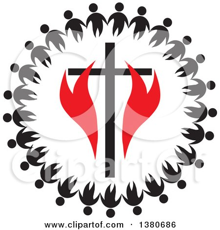 Clipart of a Black and White Unity Circle of People Holding Hands Around a Cross with Red Flames - Royalty Free Vector Illustration by Johnny Sajem