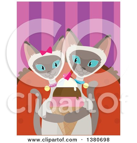 Clipart of a Romantic Siamese Cat Couple Sharing an Ice Cream Cone - Royalty Free Vector Illustration by Maria Bell
