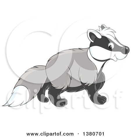 Clipart of a Cute Honey Badger Walking - Royalty Free Vector Illustration by Alex Bannykh