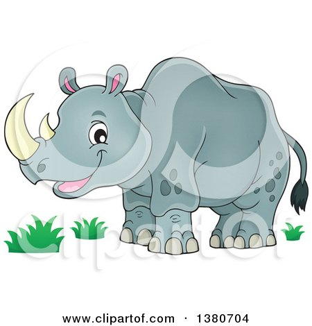 Clipart of a Happy Rhinceros - Royalty Free Vector Illustration by visekart