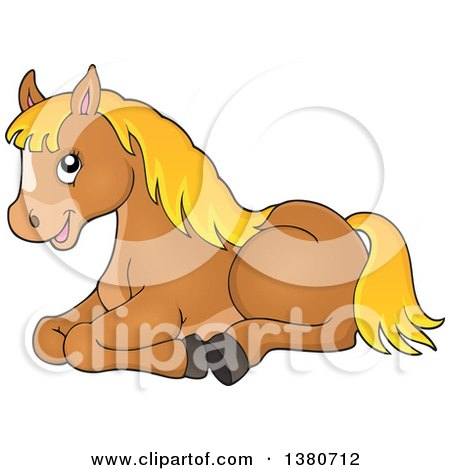 Clipart of a Cute Brown and Blond Pony Resting - Royalty Free Vector Illustration by visekart