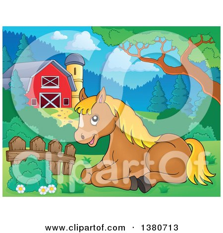 Clipart Of A Cute Brown And Blond Pony Resting By A Barn