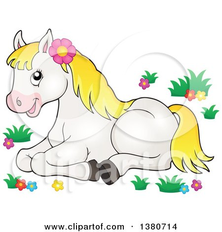Clipart of a Cute White and Blond Pony Resting in Flowers - Royalty Free Vector Illustration by visekart