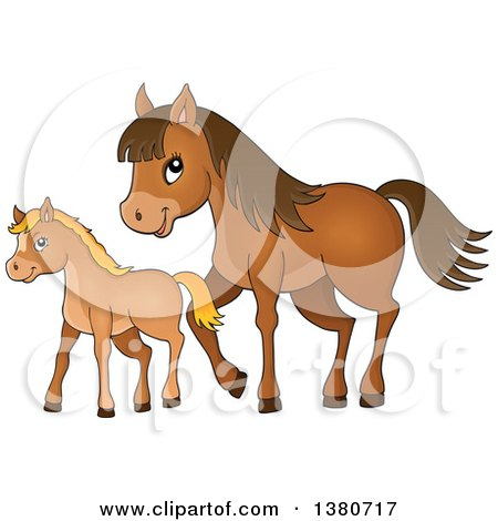Clipart of a Cute Brown Foal and Horse - Royalty Free Vector Illustration by visekart