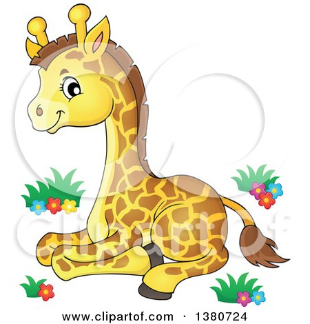 Clipart of a Cute Baby Giraffe Resting - Royalty Free Vector Illustration by visekart