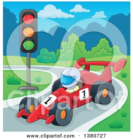 Clipart of a Race Car Driver on a Track - Royalty Free Vector Illustration by visekart