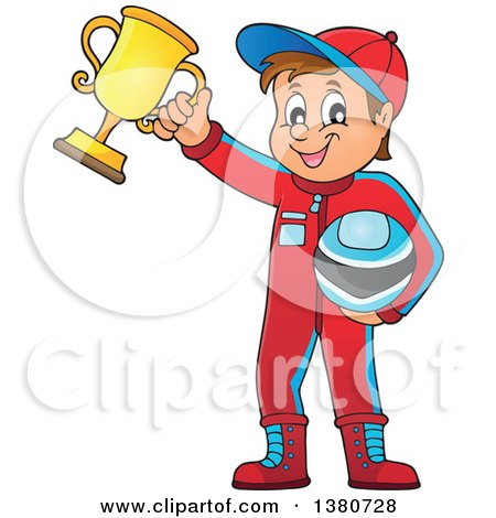 Clipart of a Race Car Driver Holding His Helmet and First Place Trophy - Royalty Free Vector Illustration by visekart