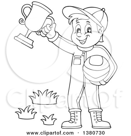 Clipart of a Black and White Lineart Race Car Driver Holding His Helmet and First Place Trophy - Royalty Free Vector Illustration by visekart