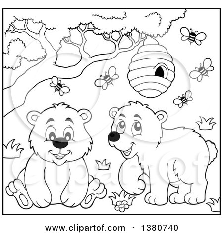 Clipart of a Black and White Lineart Busy Bee Hive and a Happy Bears - Royalty Free Vector Illustration by visekart
