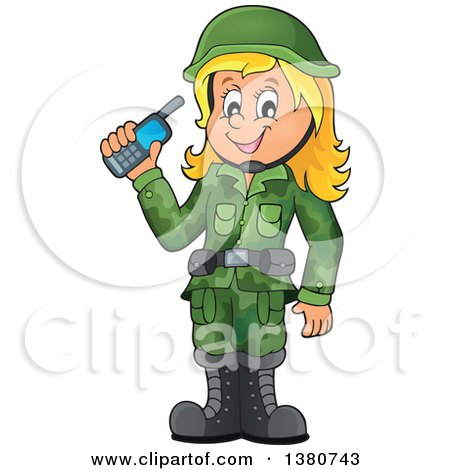 Clipart of a Happy Blond White Female Soldier Holding a Walkie Talkie - Royalty Free Vector Illustration by visekart