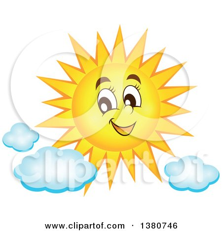 Clipart Of A Happy Sun Character With Clouds Royalty Free Vector Illustration