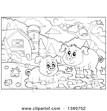 Clipart of Black and White Lineart Pigs at a Mud Puddle in ...