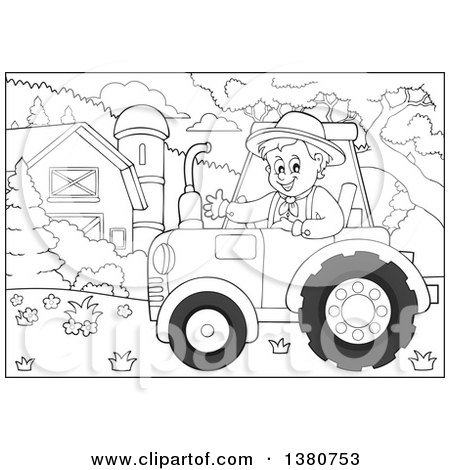 Clipart of a Black and White Happy Male Farmer Waving and Driving a Red Tractor by a Barn and Silo - Royalty Free Vector Illustration by visekart