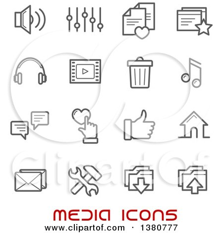 Clipart of Gray Media Icons and Red Text - Royalty Free Vector Illustration by Vector Tradition SM