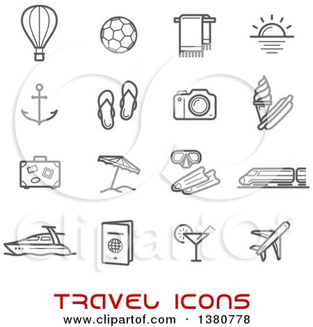 Clipart of Gray Travel Icons and Red Text - Royalty Free Vector Illustration by Vector Tradition SM