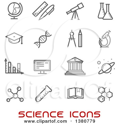 Clipart of Gray Science Icons and Red Text - Royalty Free Vector Illustration by Vector Tradition SM