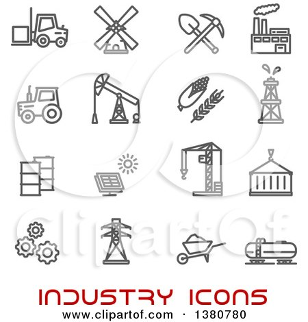 Clipart of Gray Industry Icons and Red Text - Royalty Free Vector Illustration by Vector Tradition SM