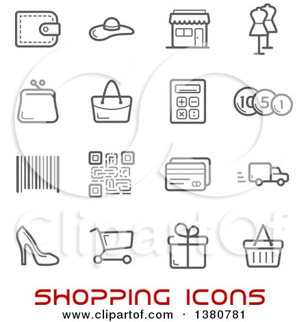 Clipart of Gray Shopping Icons and Red Text - Royalty Free Vector Illustration by Vector Tradition SM