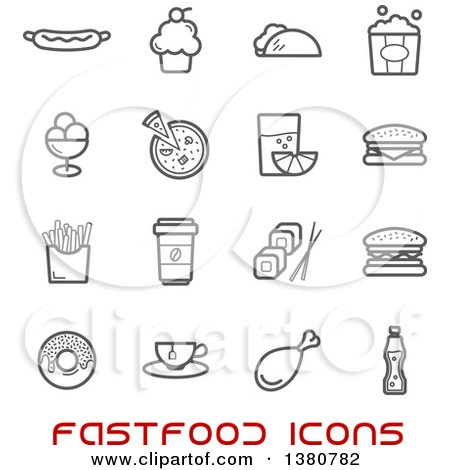 Clipart of Gray Fast Food Icons and Red Text - Royalty Free Vector Illustration by Vector Tradition SM