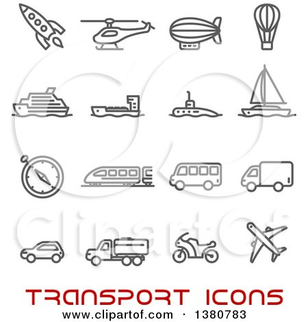 Clipart of Gray Transport Icons and Red Text - Royalty Free Vector Illustration by Vector Tradition SM