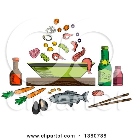 Clipart of a Sketched Seafood Dish with Sauce Bottles and Chopsticks, Whole Fish and Bowl with Pieces of Tuna, Shrimps and Mussels, Olives and Vegetables - Royalty Free Vector Illustration by Vector Tradition SM