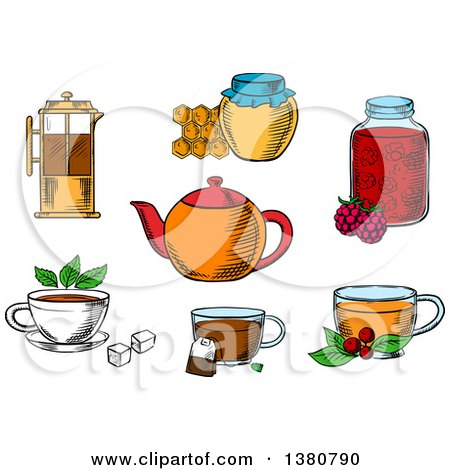 Clipart of Sketched Tea Icons with Jars, Honey and Raspberry Jam Desserts, French Press, Various Teacups with Tea Bag, Sugar Cubes, Fresh Leaves of Mint and Cowberry with Porcelain Teapot - Royalty Free Vector Illustration by Vector Tradition SM