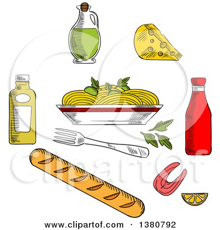 Clipart of Sketched Spaghetti, Sauce and Basil Encircled by Bottles of Olive Oil, Tomato and Mustard Sauces, Fork, Cheese, Ciabatta Bread and Salmon Fish - Royalty Free Vector Illustration by Vector Tradition SM