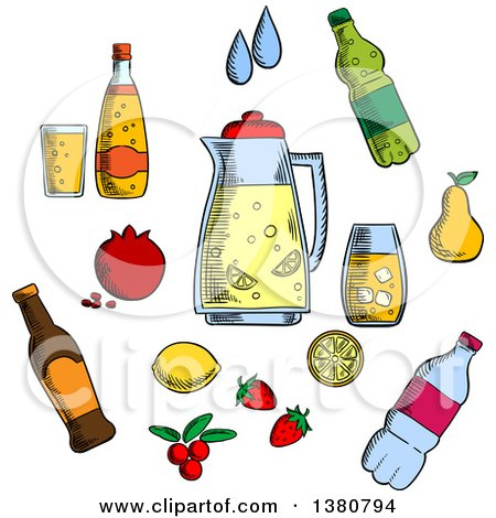 Clipart of Sketched Beverages, Alcohol and Drinks Icons Set with Juice and Beer, Tea and Soda, Cocktail and Mineral Water, Berries and Fruits - Royalty Free Vector Illustration by Vector Tradition SM